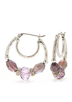 Napier Silver-Tone Midsummer Beaded Hoop Earrings
