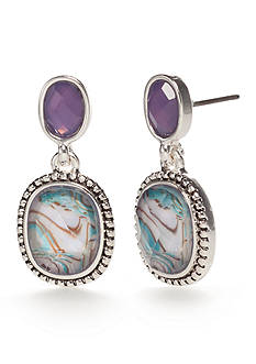 Napier Silver-Tone Violet Sky Drop Earrings