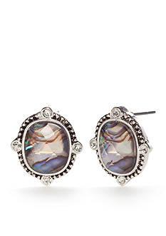 Napier Silver-Tone Purple Button Earrings