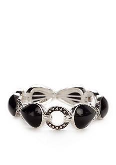 Napier Silver-Tone Black Textured Stretch Bracelet
