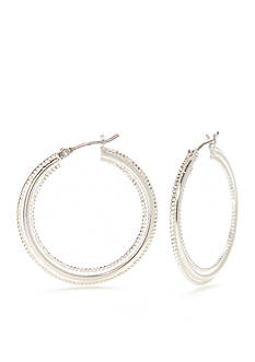 Napier Silver-Tone Medium Textured Hoop Earrings