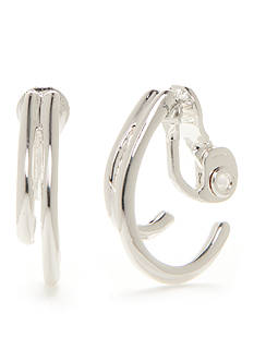 Napier Silver-Tone Double C Hoop Clip Earrings