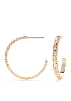 Napier Gold-Tone Textured C Hoop Earrings