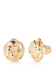 Napier Gold-Tone Knot Button Clip Earrings