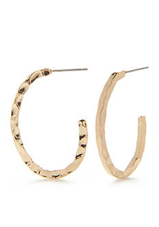 Napier Gold-Tone Hammered Oval C Hoop Earrings