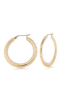 Napier Gold-Tone Textured Medium Hoop Earrings
