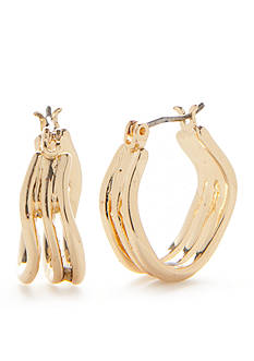 Napier Gold-Tone Crossover Small Hoop Earrings