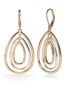 Napier Multi-Tone Large Teardrop Orbital Drop Earrings