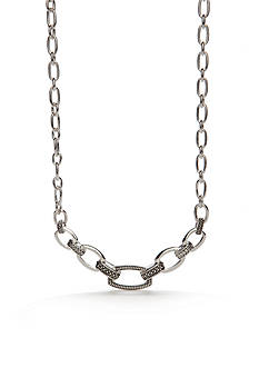 Napier Silver-Tone Textured Link Collar Necklace