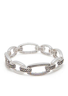 Napier Silver-Tone Textured Link Stretch Bracelet