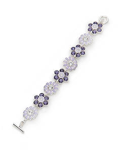 Napier Silver-Tone Purple Flower Toggle Bracelet