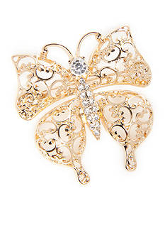 Napier Gold-Tone Filigree Crystal Butterfly Boxed Pin