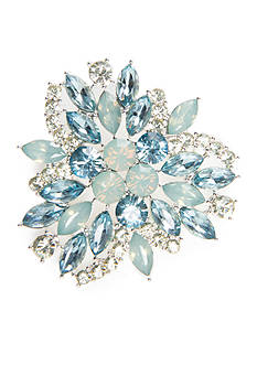 Napier Silver-Tone Blue Leaf Cluster Boxed Pin