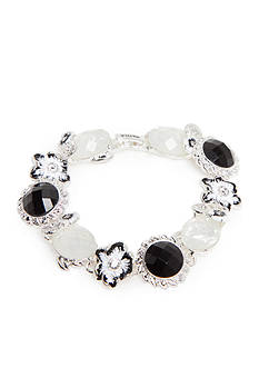 Napier Silver-Tone Black and White Flower Link Boxed Bracelet