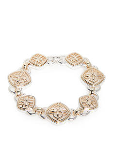 Napier Two-Tone Filigree Flower Link Bracelet