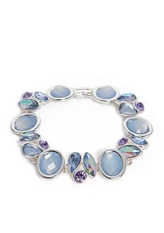 Napier Silver-Tone Blue Crystal Cluster Chain Bracelet