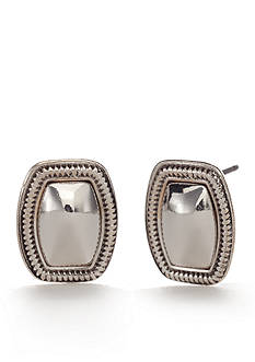 Napier Silver-Tone Textured Stud Earrings