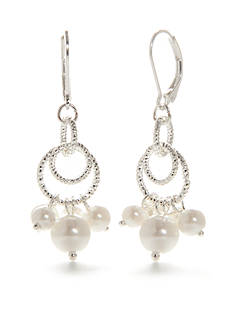 Napier Silver-Tone Pearl State Chandelier Earrings