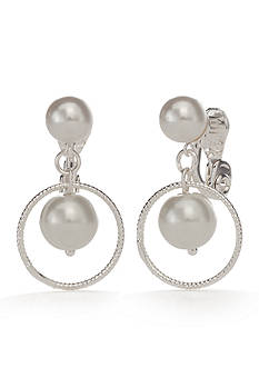 Napier Silver-Tone Faux Pearl Orbital Drop Earrings