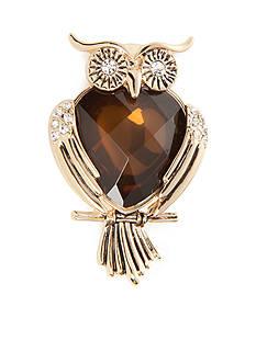 Napier Gold-Tone Owl Boxed Pin