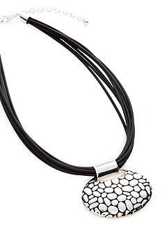 Napier Adjustable Leather Pendant Necklace