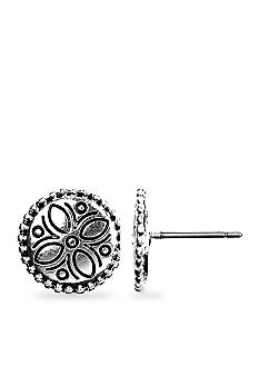 Napier Artisan Silver Button Pierced Earrings