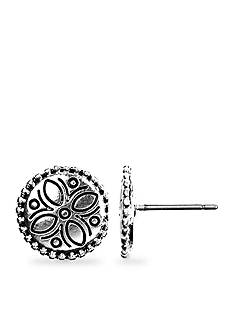 Napier Artisan Silver-Tone Button Pierced Earring