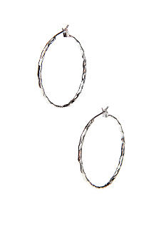 Napier Large Textured Silver Click It Hoop