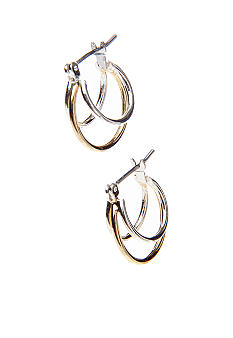 Napier Silver And Gold Tone Double Hoop Pierced Earring