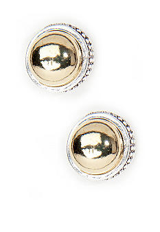 Napier Two Tone Silver And Gold Button Stud Pierced Earring