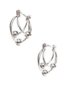 Napier Silver Tone Double Hoop With Multi Beads