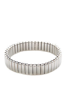 Napier Polished Silver Open Link Stretch  Bracelet