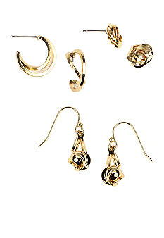 Napier Gold Three Pair Earring Set