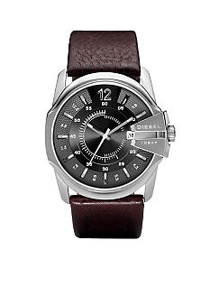 Diesel Men's Round Stainless Steel Dial with Dark Brown Strap Watch