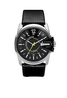 Diesel Men's Black Round Dial and Black Leather Strap Watch