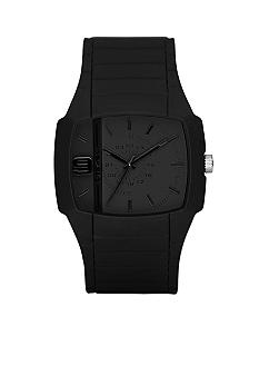 Diesel Men's Analog Black Silicone Square Grey Dial Watch