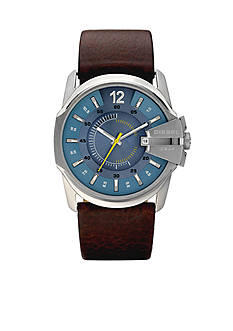 Diesel Men's Analog Round Blue Dial and Brown Leather Strap Watch