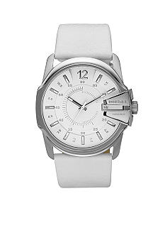 Diesel Men's Analog Round White Dial and White Leather Strap Watch