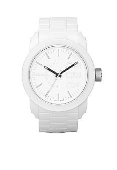 Diesel Men's All White Round Dial with White Silicone Strap Watch