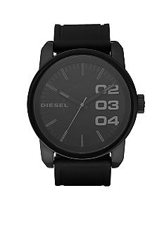 Men's Round Black Dial Watch With Black Silicone Strap