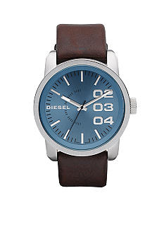 Diesel Men's Analog Round Dial Brown Leather Strap Watch