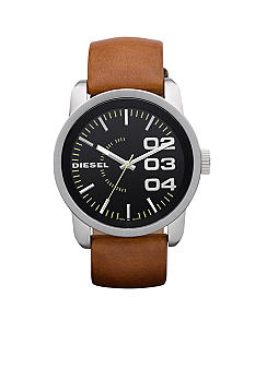 Diesel Men's Analog Round Black Dial with Brown Leather Strap Watch