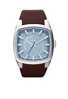 Diesel Silver Tone Stainless Steel and Brown Leather Watch