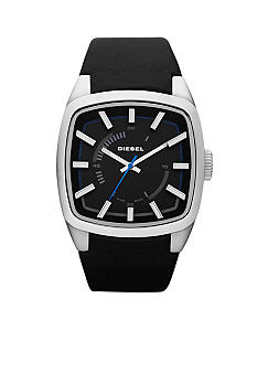 Diesel Black Leather and Silver Tone Stainless Steel Three Hand Watch