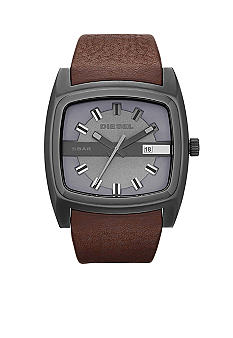 Diesel Men's Mr. Red Gunmetal Grey Stainless Steel with Brown Leather Strap Watch