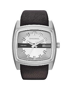 Diesel Silver Tone Stainless Steel and Black Leather Watch