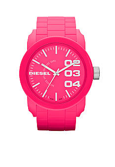 Diesel Men's Pink Plastic and Silver-Tone Stainless Steel Three-Hand Watch
