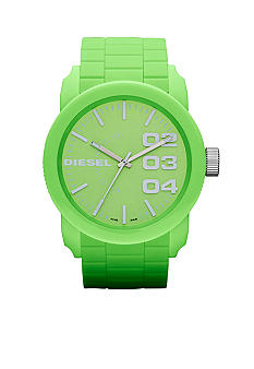 Diesel Men's Green Plastic and Silver-Tone Stainless Steel Three-Hand Watch