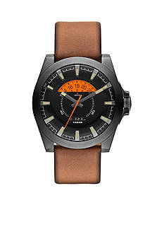 Diesel Men's Brown Leather Arges Three-Hand with Date Watch
