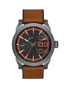 Diesel Men's Brown Leather Double Down Series Three-Hand Watch
